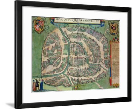 "Map of Moscow, from ""Civitates Orbis Terrarum"" by Georg Braun and Frans Hogenberg circa 1572-1617-Joris Hoefnagel-Framed Art Print"