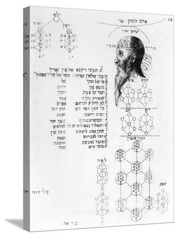 Jewish Manuscript Illustrating Phrenology--Stretched Canvas Print