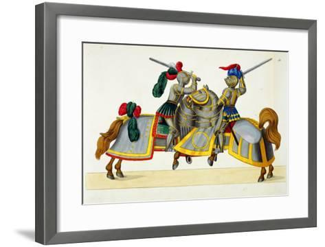 "Two Knights at a Tournament, Plate from ""A History of the Development and Customs of Chivalry""-Friedrich Martin Von Reibisch-Framed Art Print"
