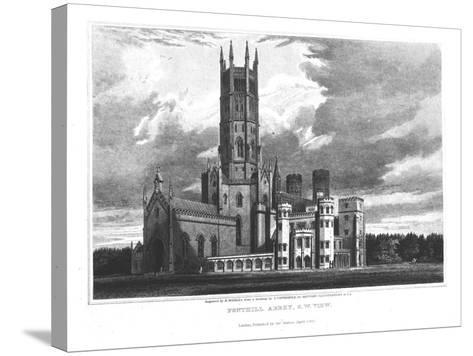 """Fonthill Abbey from the South-West, from """"Graphic and Literary Illustrations of Fonthill Abbey""""-George Cattermole-Stretched Canvas Print"""