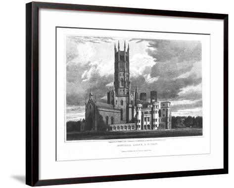 """Fonthill Abbey from the South-West, from """"Graphic and Literary Illustrations of Fonthill Abbey""""-George Cattermole-Framed Art Print"""