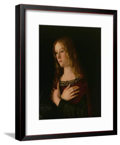 Mary Magdalene, Detail from the Virgin and Child with St. Catherine and Mary Magdalene, circa 1500-Giovanni Bellini-Framed Art Print