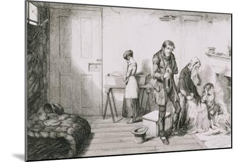 The Bottle, Plate V, Cold, Misery and Want Destroy Their Youngest Child-George Cruikshank-Mounted Giclee Print