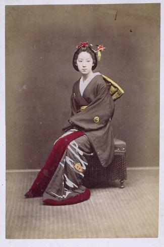 Young Girl in a Kimono, circa 1860-70--Stretched Canvas Print