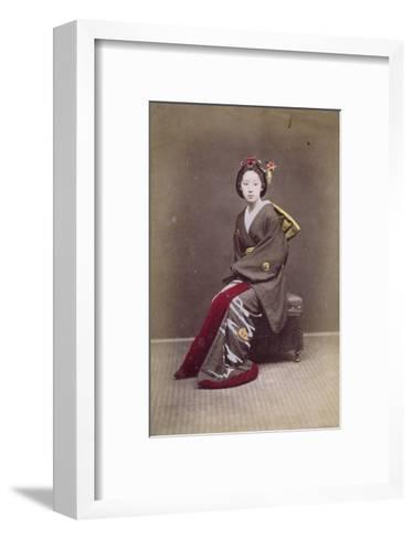 Young Girl in a Kimono, circa 1860-70--Framed Art Print