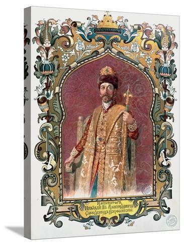 Portrait of Tsar Nicholas II in Traditional Coronation Dress, circa 1894--Stretched Canvas Print