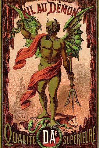 """Label for """"Fil Au Demon"""" Brand of Sewing Thread, circa 1880-90--Stretched Canvas Print"""