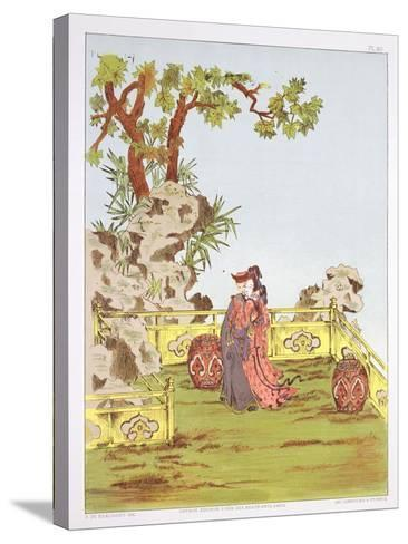 """Couple in a Chinese Garden, from """"Ornaments of China""""-Jean Francois Albanis De Beaumont-Stretched Canvas Print"""