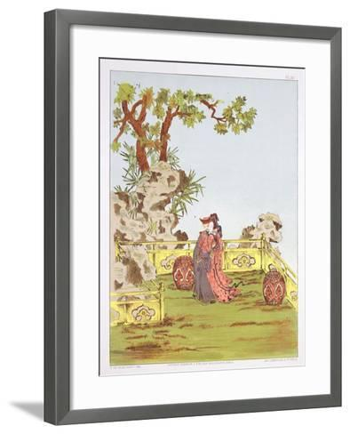 """Couple in a Chinese Garden, from """"Ornaments of China""""-Jean Francois Albanis De Beaumont-Framed Art Print"""