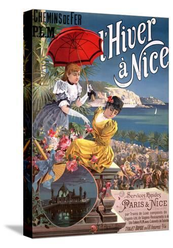 Winter in Nice, Poster Advertising P.L.M Trains-Hugo D' Alesi-Stretched Canvas Print