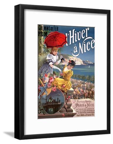 Winter in Nice, Poster Advertising P.L.M Trains-Hugo D' Alesi-Framed Art Print