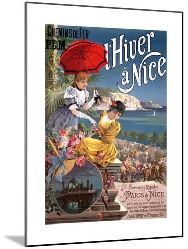 Winter in Nice, Poster Advertising P.L.M Trains-Hugo D' Alesi-Mounted Giclee Print