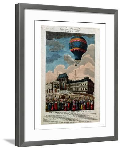 The First Ballooning Experiment at the Chateau De Versailles, 19th September, 1783--Framed Art Print