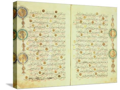 Seljuk Style Koran with Illuminated Sunburst Marks and Small Trees in the Margin--Stretched Canvas Print
