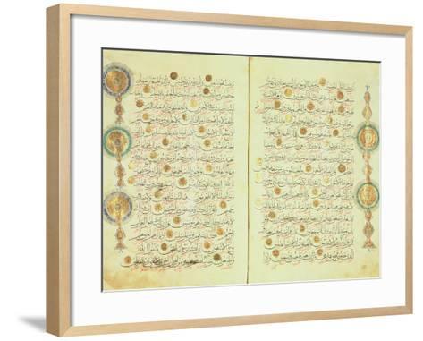 Seljuk Style Koran with Illuminated Sunburst Marks and Small Trees in the Margin--Framed Art Print