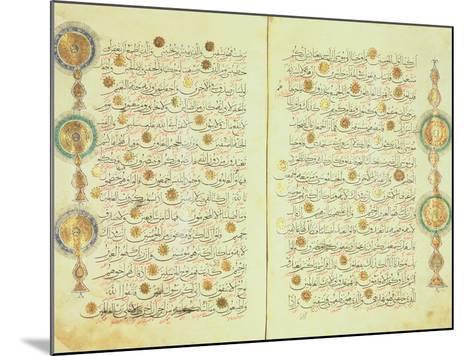 Seljuk Style Koran with Illuminated Sunburst Marks and Small Trees in the Margin--Mounted Giclee Print