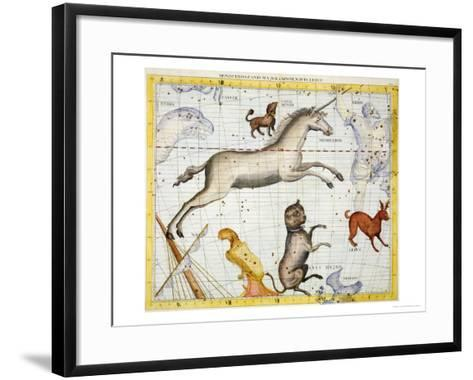 """Constellation of Monoceros with Canis Major and Minor, Plate 13 from """"Atlas Coelestis""""-Sir James Thornhill-Framed Art Print"""