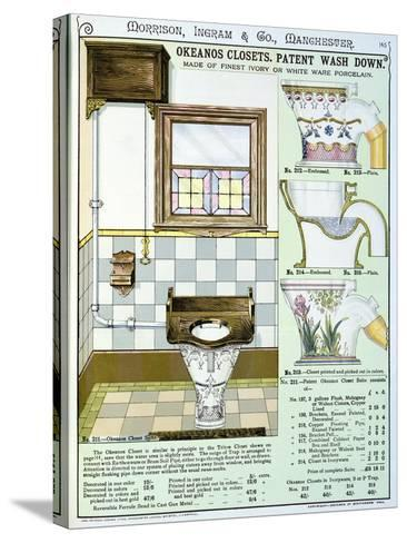 Okeanos Closets from a Catalogue of Sanitary Wares Produced by Morrison, Ingram & Co., Manchester--Stretched Canvas Print