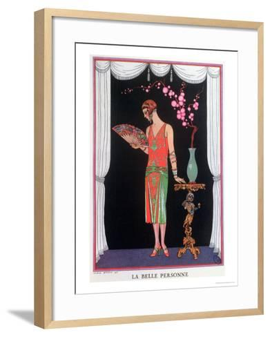 Worth Evening Dress, Fashion Plate from Gazette Du Bon Ton, 1925-Georges Barbier-Framed Art Print