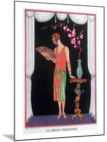Worth Evening Dress, Fashion Plate from Gazette Du Bon Ton, 1925-Georges Barbier-Mounted Giclee Print