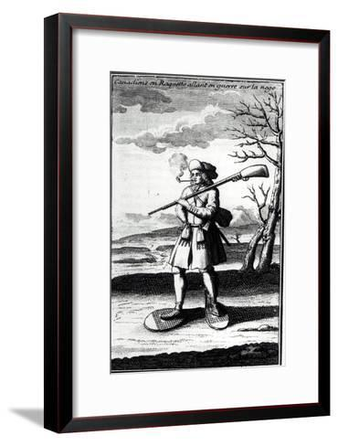 """Canadian with Snowshoes Going to War on the Snow, from """"Histoire De L'Amerique Septentrionale""""--Framed Art Print"""