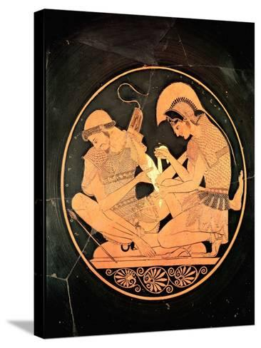 Interior of an Attic Red Figure Kylix Depicting Achilles Tending Wounded Patrocles, circa 500 BC- Sosias Painter-Stretched Canvas Print