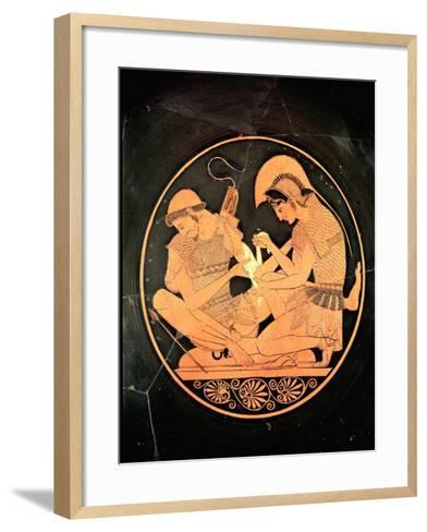 Interior of an Attic Red Figure Kylix Depicting Achilles Tending Wounded Patrocles, circa 500 BC- Sosias Painter-Framed Art Print
