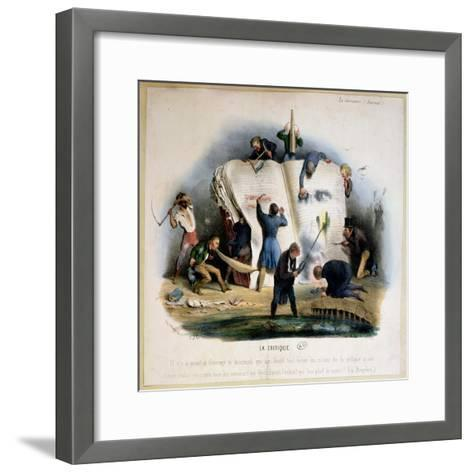 Literary Criticism, Caricature of Literary Critics Removing Passages from Books-Charles Joseph Travies De Villiers-Framed Art Print