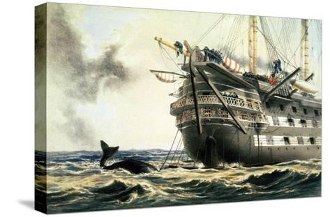 """Hms Agamemnon Laying the Original Atlantic Cable, from """"The Atlantic Telegraph""""-Robert Dudley-Stretched Canvas Print"""