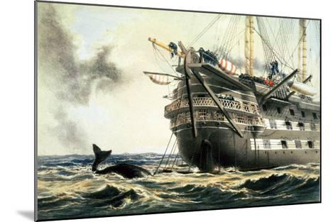 """Hms Agamemnon Laying the Original Atlantic Cable, from """"The Atlantic Telegraph""""-Robert Dudley-Mounted Giclee Print"""