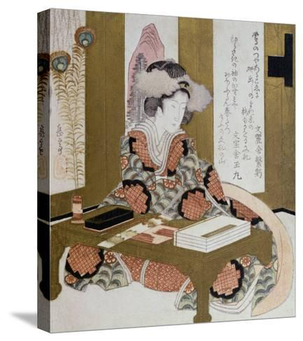 The Poetess, Bijin, at Her Calligraphy Table-Yashima Gakutei-Stretched Canvas Print