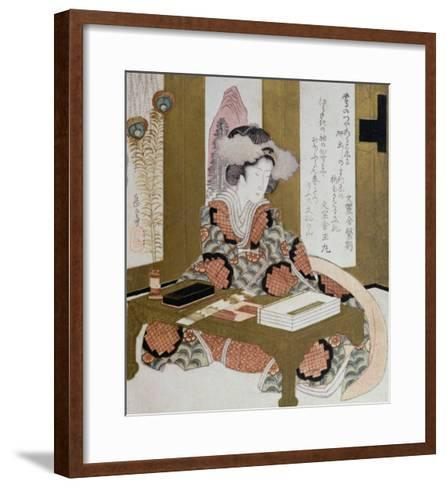 The Poetess, Bijin, at Her Calligraphy Table-Yashima Gakutei-Framed Art Print