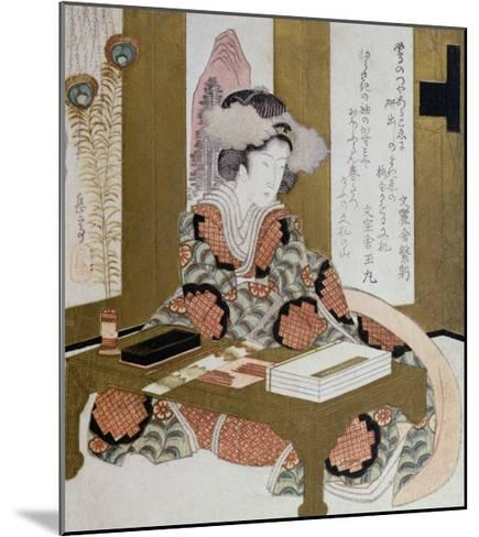 The Poetess, Bijin, at Her Calligraphy Table-Yashima Gakutei-Mounted Giclee Print