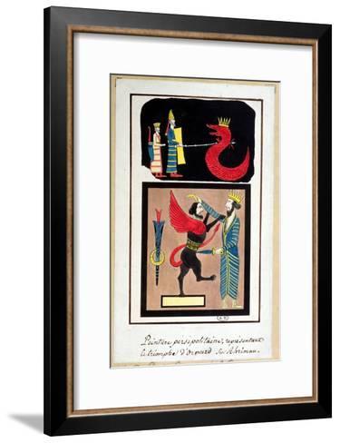 Ahura Mazda Triumphing over Angra Mainyu, Copy of a Frieze from Persepolis--Framed Art Print