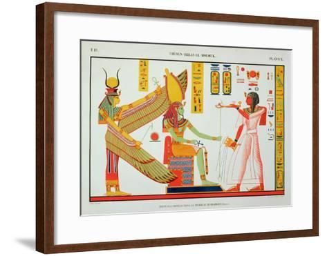 Ramesses IV (1153-1147 BC) Offering Incense to Isis and Amon-Re, Seated on a Throne-Jean Francois Champollion-Framed Art Print