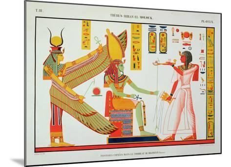 Ramesses IV (1153-1147 BC) Offering Incense to Isis and Amon-Re, Seated on a Throne-Jean Francois Champollion-Mounted Giclee Print