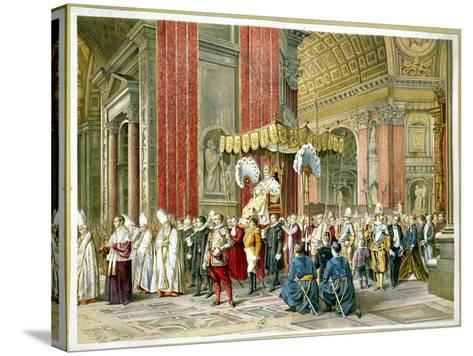 Arrival of Pope Pius IX on the Sedia Gestatoria at the Opening of the First Vatican Council--Stretched Canvas Print