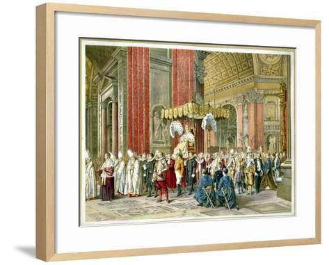 Arrival of Pope Pius IX on the Sedia Gestatoria at the Opening of the First Vatican Council--Framed Art Print