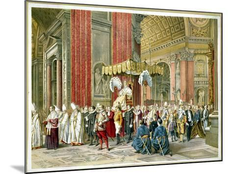 Arrival of Pope Pius IX on the Sedia Gestatoria at the Opening of the First Vatican Council--Mounted Giclee Print