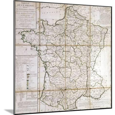 Map of France Divided into Provinces- Cesar Francois Cassini De Thury-Mounted Giclee Print