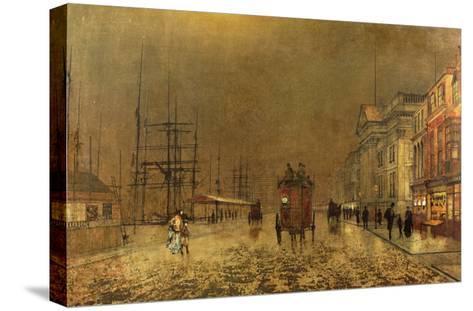 A Liverpool Street-John Atkinson Grimshaw-Stretched Canvas Print
