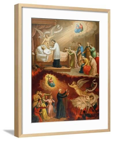 The Death of the Righteous Man and the Death of the Sinner--Framed Art Print