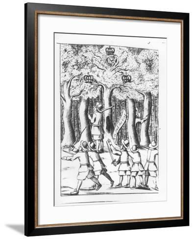 King Charles II Hiding in an Oak Tree at Boscobel after His Defeat at the Battle of Worcester--Framed Art Print