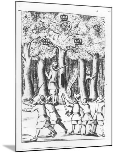 King Charles II Hiding in an Oak Tree at Boscobel after His Defeat at the Battle of Worcester--Mounted Giclee Print