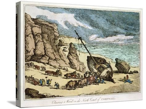 """Clearing a Wreck on the North Coast of Cornwall, from """"Sketches from Nature,"""" Published 1822-Thomas Rowlandson-Stretched Canvas Print"""