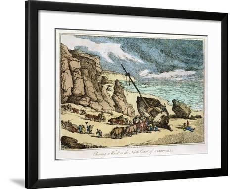 """Clearing a Wreck on the North Coast of Cornwall, from """"Sketches from Nature,"""" Published 1822-Thomas Rowlandson-Framed Art Print"""