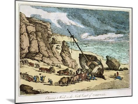 """Clearing a Wreck on the North Coast of Cornwall, from """"Sketches from Nature,"""" Published 1822-Thomas Rowlandson-Mounted Giclee Print"""