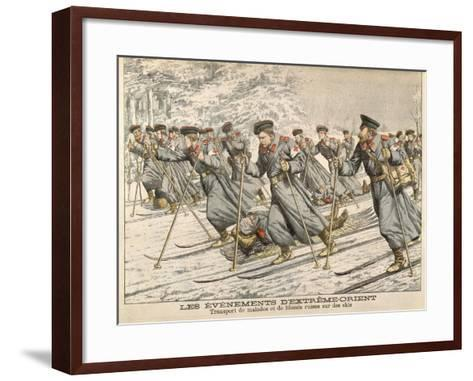 The Red Cross Transporting Injured Russians on Skis During the Russo-Japanese War--Framed Art Print