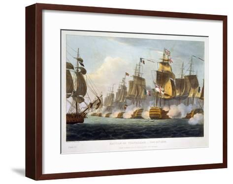 """Battle of Trafalgar, October 21st 1805, from """"The Naval Achievements of Great Britain""""-Thomas Whitcombe-Framed Art Print"""
