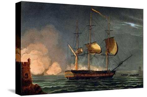 Cutting out of the Hermione from the Harbour of Porto Cavallo, October 25th 1799-Thomas Whitcombe-Stretched Canvas Print